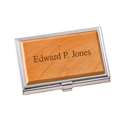 GC1125 2Lines: Personalized Wood Business Card Case 2Ln