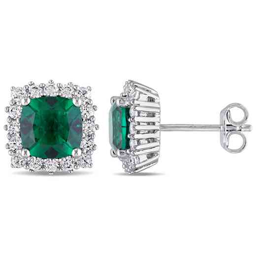 BAL000318:  Emerald   Wht Sapphire Halo Stud Earrgs  SS