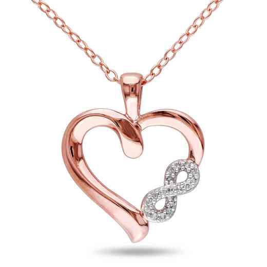 BAL000420: Dmnd-Accent Heart fity NCK  Rose Plated Sterlg SLV