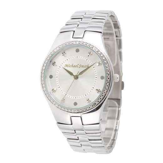 75234-6E-2: Men's Personalized Diamond Accent Silver Tone Watch