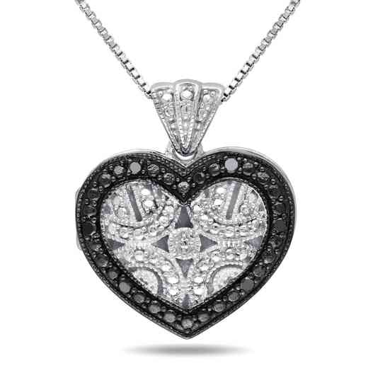 BAL000415: Black Diamond-Accent Heart Locket Ncklace Sterlg Silver