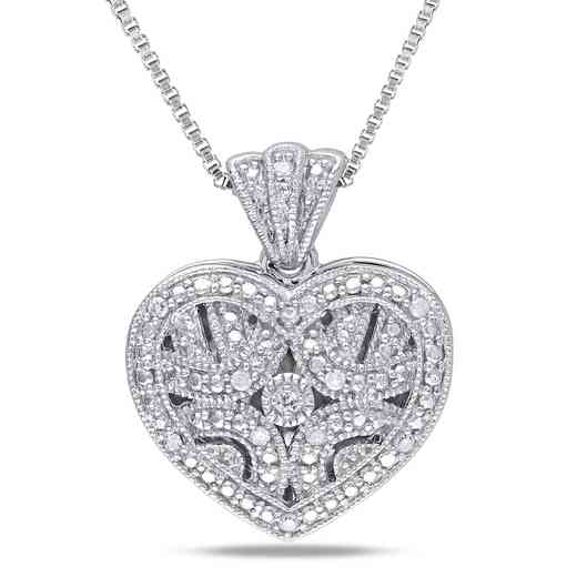BAL000414: Diamond-Accent Heart Locket Necklace  Sterlg Silver