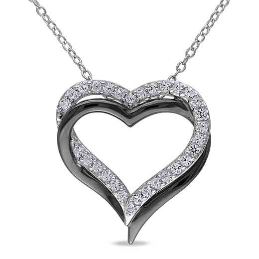 BAL000406:  White Sapphire Double Heart Necklace  Sterlg Silver