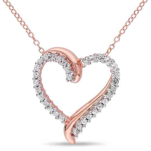 BAL000404:  White Sapphire Heart Necklace Rose Pltd Sterlg Silver