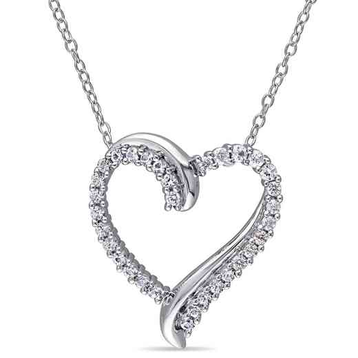 BAL000405:  White Sapphire Heart Necklace  Sterlg Silver