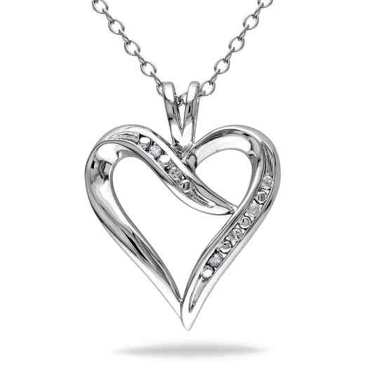 BAL000400: Diamond-Accent Heart Necklace Sterling Silver