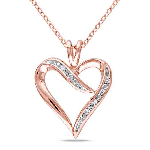 BAL000402: Diamond-Accent Heart Necklace iRose Plated SS