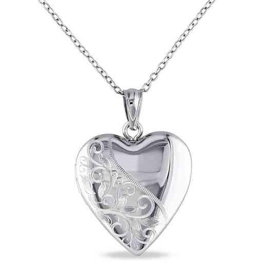 BAL000434: Engraved Heart Locket Necklace Polished Sterling Silver