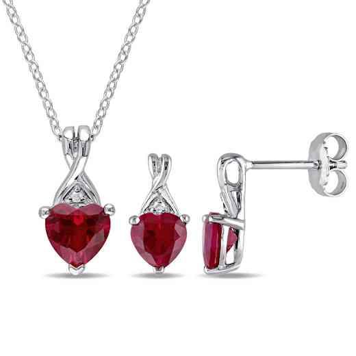 BAL000496: 2PC ST  Ruby/Dmnd-Accnt Heart Ncklc /Earrings SS