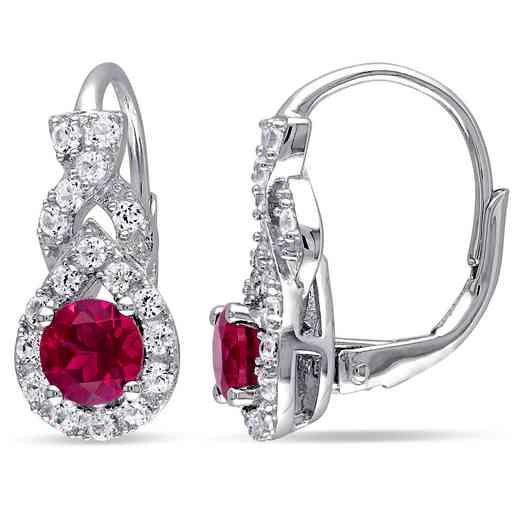 BAL000515:  Ruby/ Wht Sapphire Halo Twist Earrgs  SS