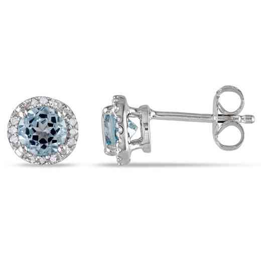 BAL000539: Blue Topaz / Diamond Halo Stud Earrgs  SS