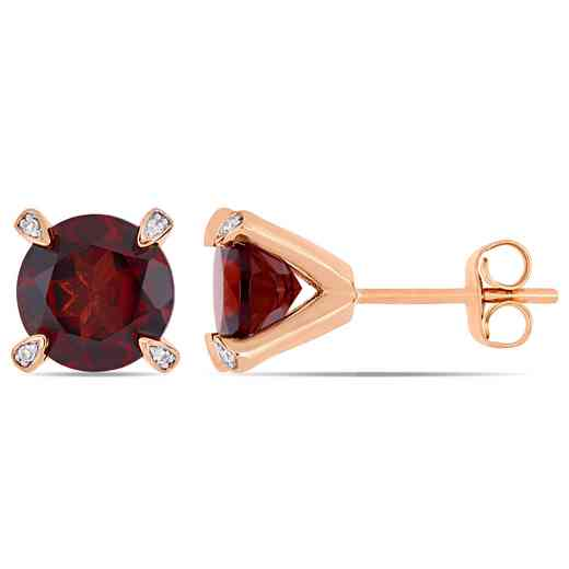 BAL000580: Garnet / 1/10 CT TW Diamond Stud Earrgs  10k Rose Gold