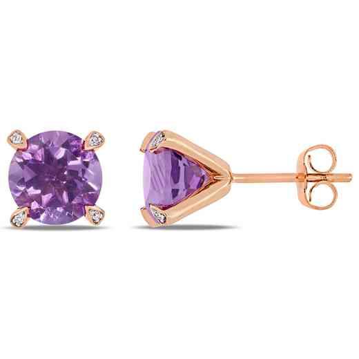 BAL000577: Amethyst / 1/10 CT TW Diamond Stud Earrgs  10k Rose Gold