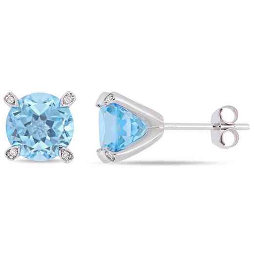 BAL000581: Sky Blue Topaz / Diamond accent Stud Earrgs 10k Wht Gld