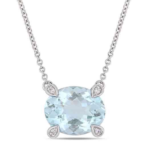 BAL000574: Aquamare / 1/10 CT TW Diamond Necklace  10k Wht Gold