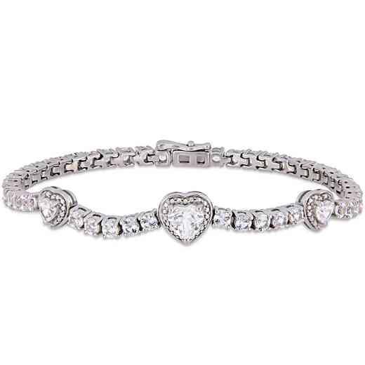 BAL000563: Created Wht Sapphire Triple Heart Tennis Bracelet  SS