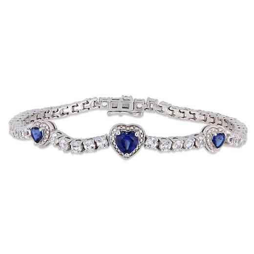 BAL000562: Created Blue / Wht Sapphire Triple Heart Bracelet  SS