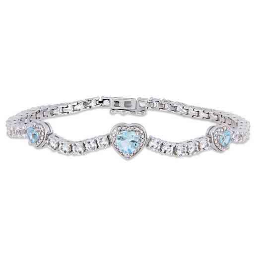 BAL000560: Blue Topaz / Created Wht Sapphire Triple Heart Brclt SS