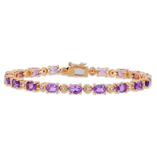 BAL000552: Amethyst / Diamond Accent Bracelet  Rose Plated SS