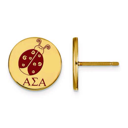 GP047ASI: Strlng Slvr w/GP LogoArt Alpha Sigma Alpha Enamld Pst Erring