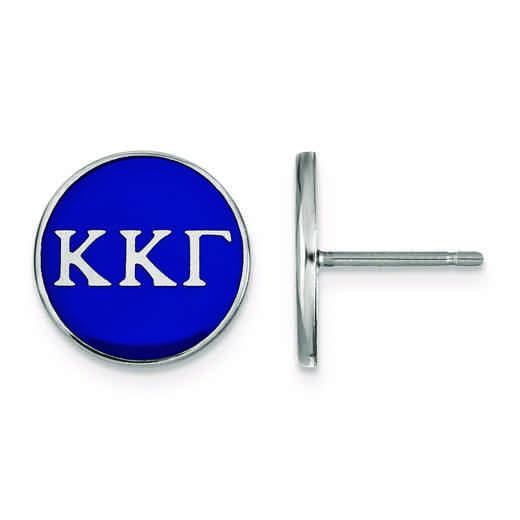SS031KKG: Strlng Slvr LogoArt Kappa Kappa Gamma Enamld Pst Erring