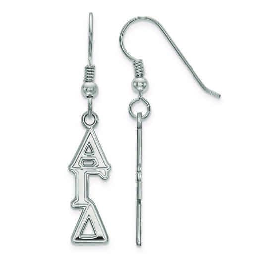 SS004AGD: Strlng Slvr LogoArt Alpha Gamma Delta Dangle Medium Earrings