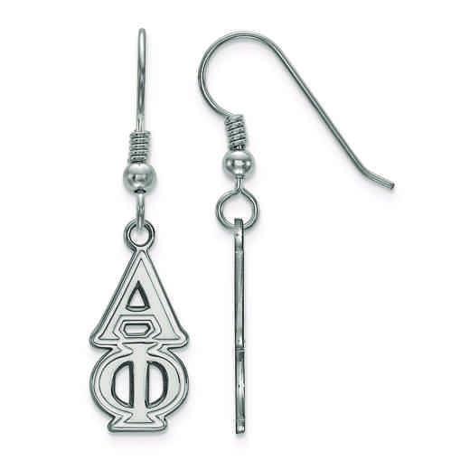 SS004APH: Strlng Slvr LogoArt Alpha Phi Dangle Medium Earrings
