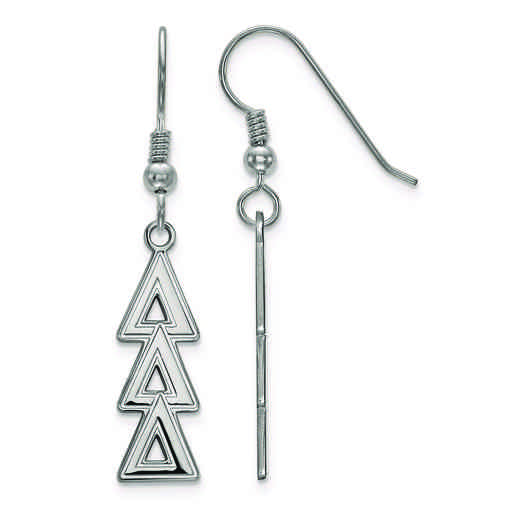 SS004DDD: Strlng Slvr LogoArt Delta Delta Delta Dangle Medium Earrings