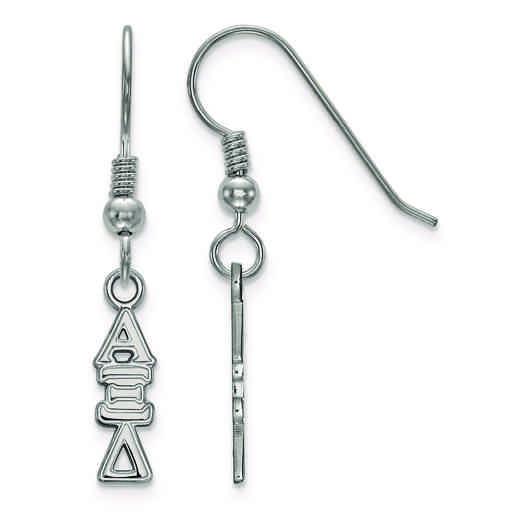 SS026AXD: Strlng Slvr LogoArt Alpha Xi Delta Small Dangle Earrings