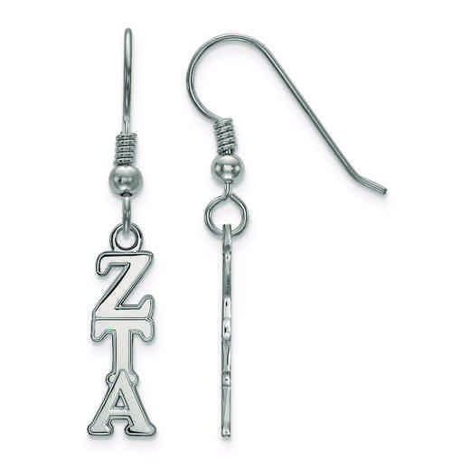 SS026ZTA: Strlng Slvr LogoArt Zeta Tau Alpha Small Dangle Earrings