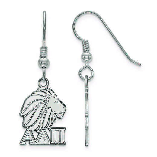 SS037ADP: Strlng Slvr LogoArt Alpha Delta Pi Small Dangle Earrings
