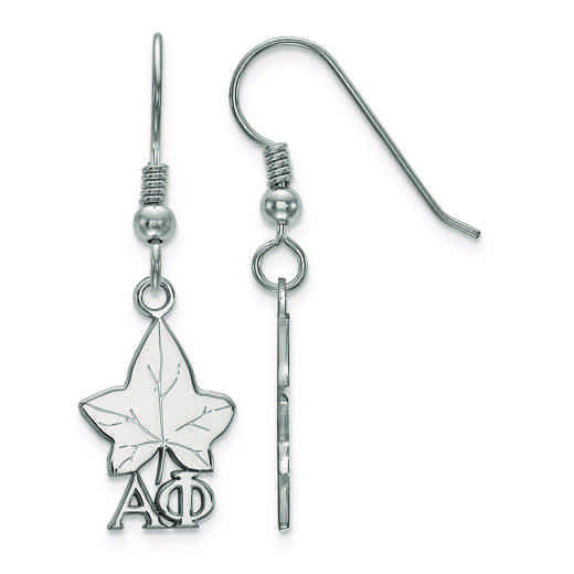 SS037APH: Strlng Slvr LogoArt Alpha Phi Small Dangle Earrings