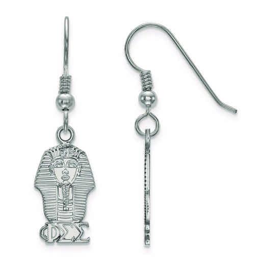 SS037PSS: Strlng Slvr LogoArt Phi Sigma Sigma Small Dangle Earrings