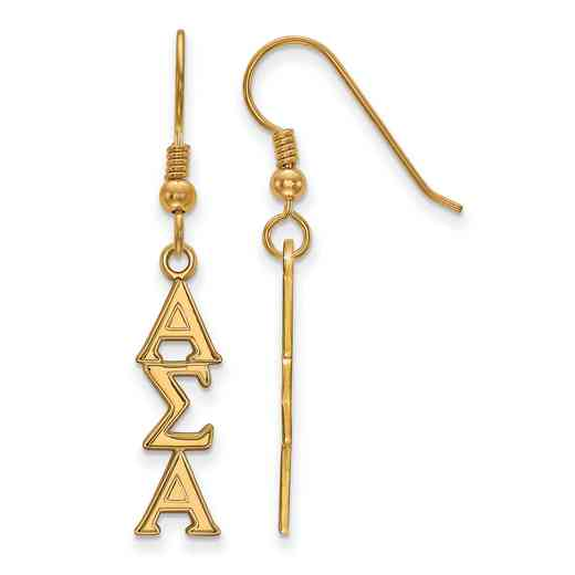 GP004ASI: Strlng Slvr with Gold Plating LogoArt Alpha Sigma Alpha Dangle Med Erring