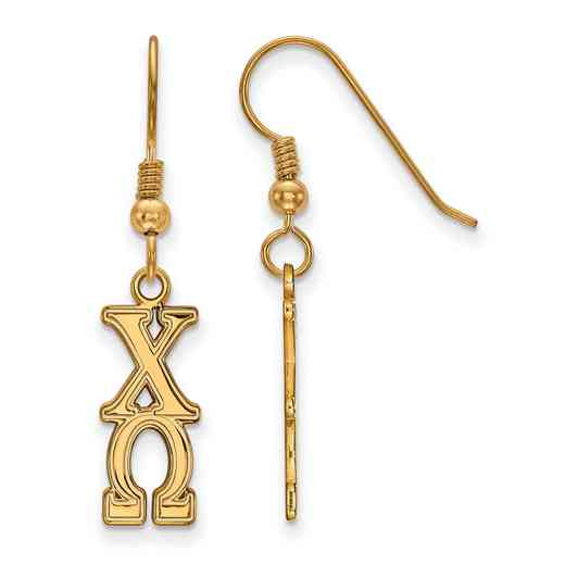 GP004CHO: Strlng Slvr with Gold Plating LogoArt Chi Omega Dangle Med Erring
