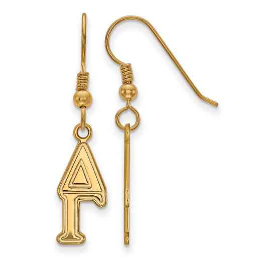 GP004DG: Strlng Slvr with Gold Plating LogoArt Delta Gamma Dangle Sml Erring