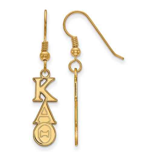 GP004KAT: Strlng Slvr with Gold Plating LogoArt Kappa Alpha Theta Dangle Sml Erring