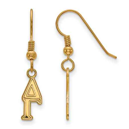GP026DG: Strlng Slvr with Gold Plating LogoArt Delta Gamma XS Dangle Erring