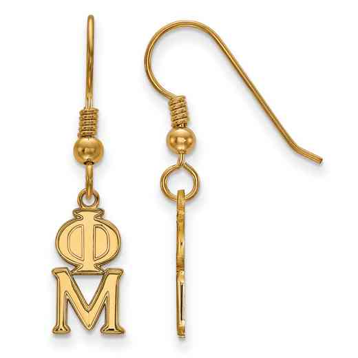 GP026PHM: Strlng Slvr with Gold Plating LogoArt Phi Mu XS Dangle Erring