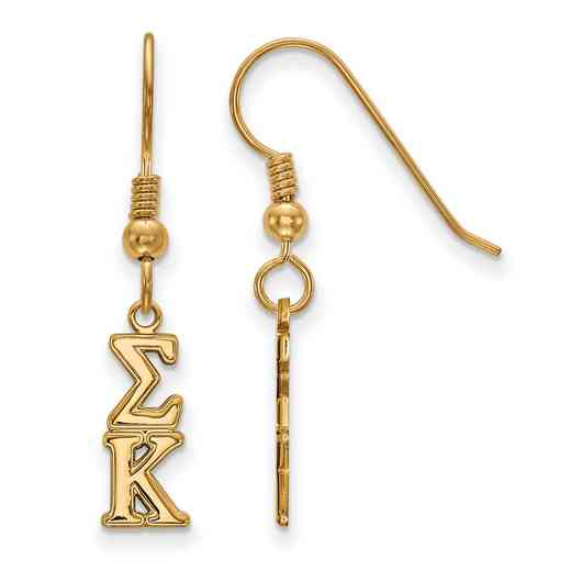 GP026SKP: Strlng Slvr with Gold Plating LogoArt Sigma Kappa XS Dangle Erring