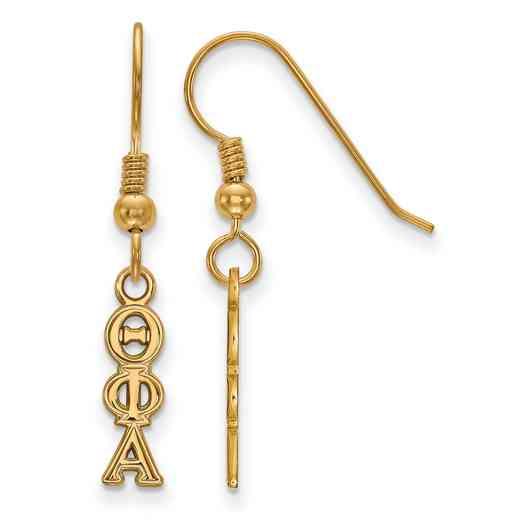 GP026TPA: Strlng Slvr with Gold Plating LogoArt Theta Phi Alpha XS Dangle Erring