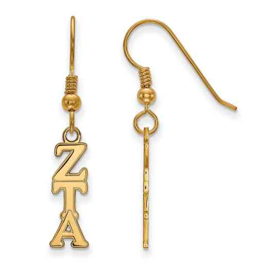 GP026ZTA: Strlng Slvr with Gold Plating LogoArt Zeta Tau Alpha Sml Dangle Erring