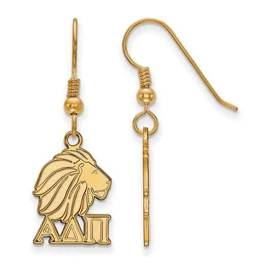 GP037ADP: Strlng Slvr with Gold Plating LogoArt Alpha Delta Pi Sml Dangle Erring