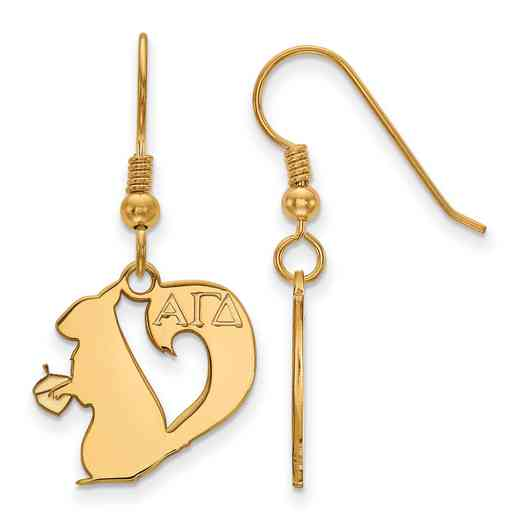 GP037AGD: Strlng Slvr with Gold Plating LogoArt Alpha Gamma Delta Sml Dangle Erring