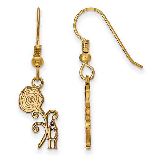 GP037AOP: Strlng Slvr with Gold Plating LogoArt Alpha Omicron Pi Sml Dangle Erring