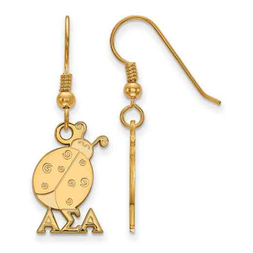 GP037ASI: Strlng Slvr with Gold Plating LogoArt Alpha Sigma Alpha Sml Dangle Erring