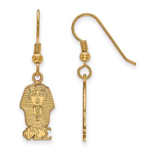 GP037PSS: Strlng Slvr with Gold Plating LogoArt Phi Sigma Sigma Sml Dangle Erring