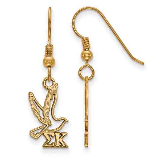 GP037SKP: Strlng Slvr with Gold Plating LogoArt Sigma Kappa Sml Dangle Erring