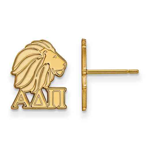 GP038ADP: Strlng Slvr with Gold Plating LogoArt Alpha Delta Pi XS Post Erring