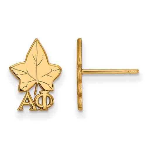 GP038APH: Strlng Slvr with Gold Plating LogoArt Alpha Phi XS Post Erring